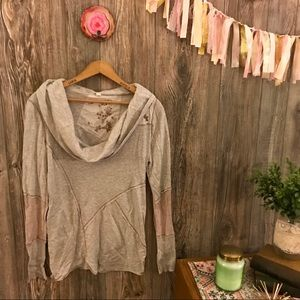 {tiny} gray ribbed knit pieced patchwork top xl